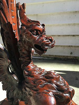 Italian Figural Griffin Plant Stand, Finely Carved Amazing Detail, 19th C