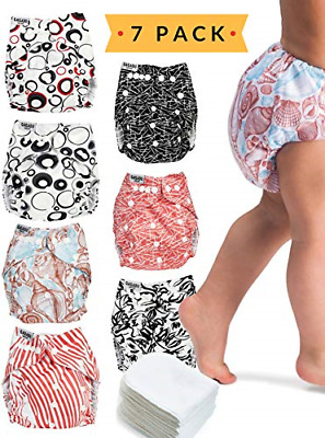 Cloth Diapers - 7 Piece Reusable Diaper Cover Set - Bonus 7 Baby Soft Insert Bag