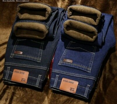 Men Winter Thermal Warm Stretch Jeans Boys Pants Straight Flocking Trousers New