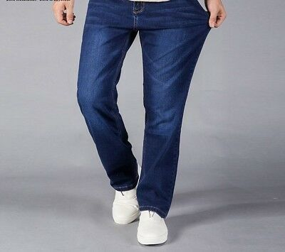 Straight Jeans For Men Blue Stretch Denim Fit Pants Large Size Boys Leg Trousers