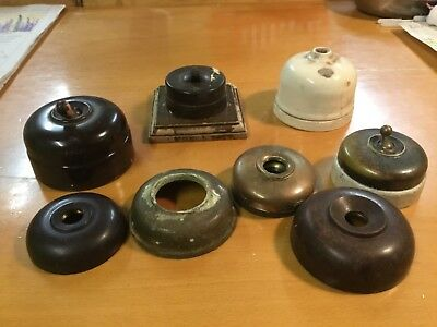 3 various Vintage Bakelite/brass/pot Light Switches plus 5 various switch covers