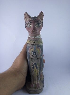 RARE ANCIENT EGYPTIAN ANTIQUE Statue of Cat goddess Bast-Bastet 945–715 Bc