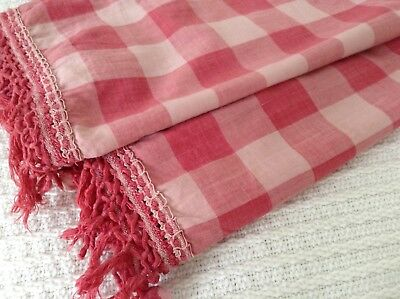 Antique French Vichy check fabric curtain/valance Shabby Chic pink pompom trim