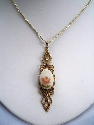 Vintage Hand Painted Pink Flower on Milk Glass Cameo Gold Tone Filigree Pendant
