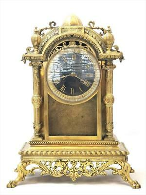 Rare Antique 19th c French Solid Gilt Bronze & Glass 8 Day Bell Mantle Clock