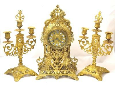 Antique 19th c French Japy Freres Gilt Pierced Bronze Mantle Clock Garniture Set