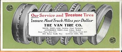 "Firestone Tires-Kansas City,Missouri-Early Ink Blotter-3.75"" X 9"""
