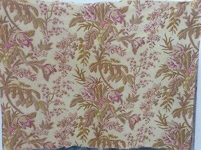 Lovely Antique French heavy cotton floral fabric 19th century floral woven look