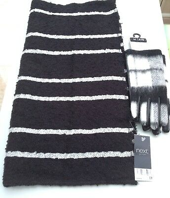 Next ladies gloves size medium and scarf set one size