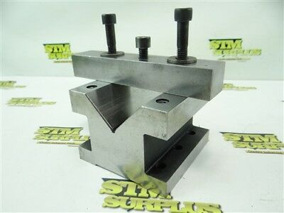 """Precision 2-1/2"""" V Block Work Holding Fixture W/ Clamp"""