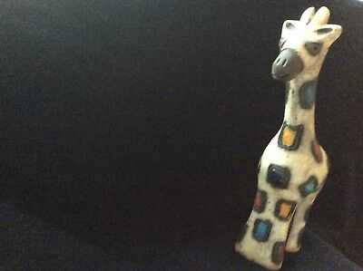"Raku- Raku Figurines-Animals ..The Patcwork Giraffe 9"" tall - REDUCED TO $12.00!"