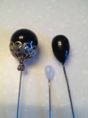 Lot of 3 Antique Glass Hat Pins Black Navy White