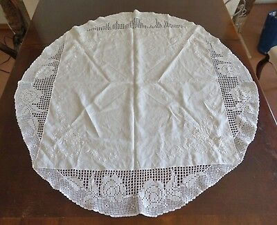 Vintage 102cm Round White Filet Crochet & Embroidered Cotton Tablecloth as found