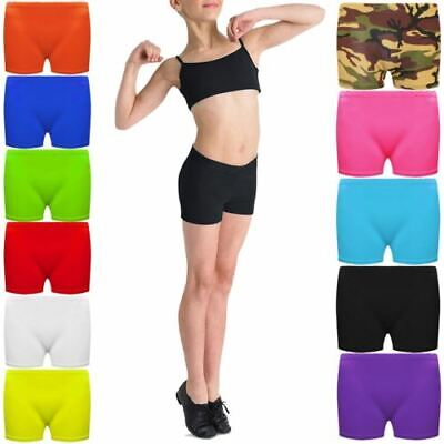 Kids Lycra Hot Pants Knickers Dance Microfiber Shorts Gym Neon Party 5-12 Years