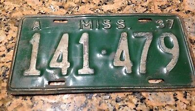 Nice 1937 Mississippi license plate 141-479 A code WOW RARE