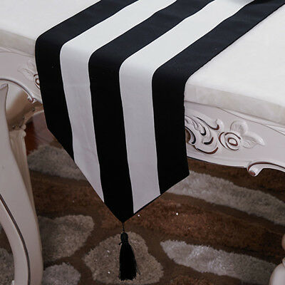 Black & White Table Runner Striped Home Dinner Dining Room Table Cover Cloth