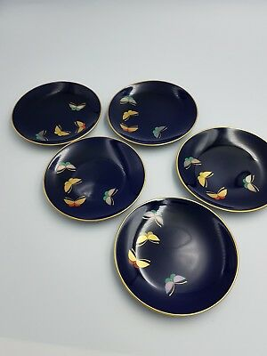 Fukagawa Koransha Of Arita Japan Porcelain Plates Royal Blue Butterflies 5Pc Set