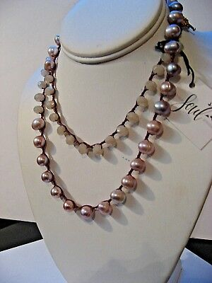 An Old Soul freshwater pink pearl & creamy quartz long layering necklace NWT