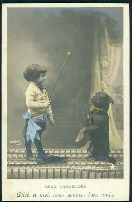 antique TINTED RPPC PHOTO PC~ADORABLE BOY CHILD TRAINING DOG to do TRICKS french