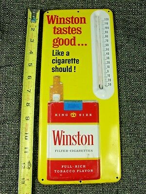 Vintage Winston Tastes Good Cigarette Thermometer Embossed~Very Nice Condition