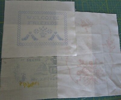 3 Pre-Stamped Embroidery Patterns Fabric - 2 Cotton & 1 Hardanger or Linen