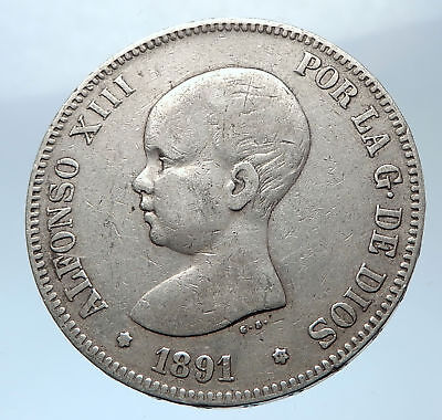 1891 SPAIN with Spanish King ALFONSO XIII Antique Silver 5 Pesetas Coin i73915