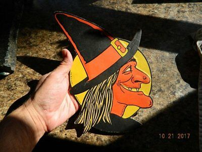 Vintage Witch Face H E Luhrs Halloween Die Cut Embossed Cardboard Beistle Decor