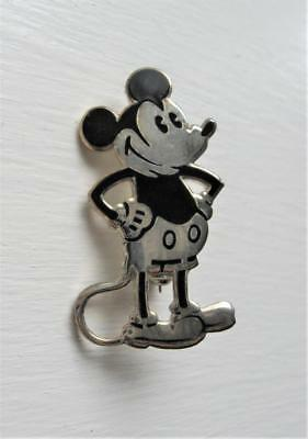 VINTAGE 1930s MICKEY MOUSE STERLING SILVER & BLACK PIN Disney Charles Horner?