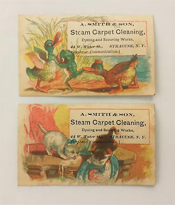 LOT 1880s antique 2 A SMITH STEAM CARPET CLEAN syracuse ny VICTORIAN TRADE CARDS