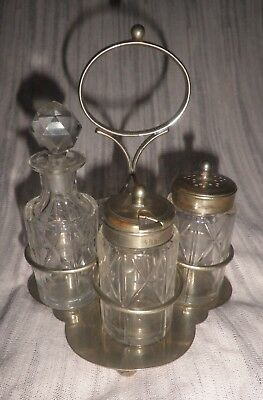 Vintage Cut Glass Cruet Set Pepper Mustard Oil/Vinegar Relish With Stand Good