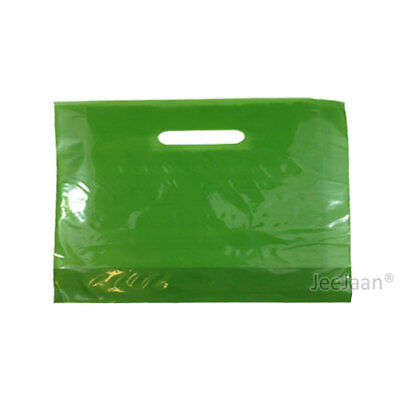 "100 Harrods Green Plastic Carrier Bags 22""x18""+3"" Gift Party Shop Patch Handle"