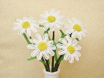 ** French Beaded Flowers ** 5 White Daisies ** Yellow Raised Centers **