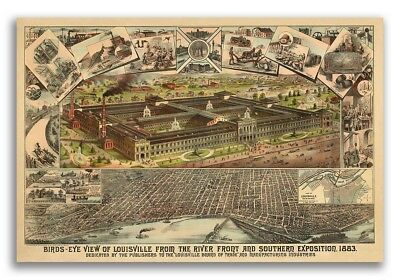 1883 Louisville Kentucky Vintage Old Panoramic City Map - 24x36