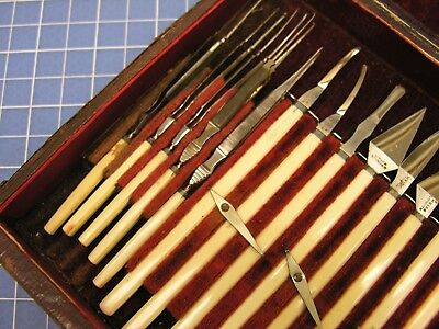 ~ A 19th c Cased 3-Tier Ophthalmic Surgical Set by Weiss, Larger than Typical ~