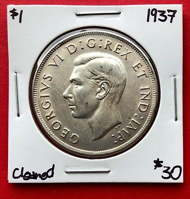 1937 Canada 1 Dollar Silver Coin One Dollar - $30 Cleaned