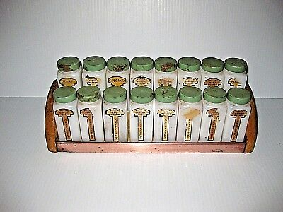 VINTAGE Griffiths 16 SPICE JARS Milk Glass w/ Green Tops & Wooden / Metal RACK