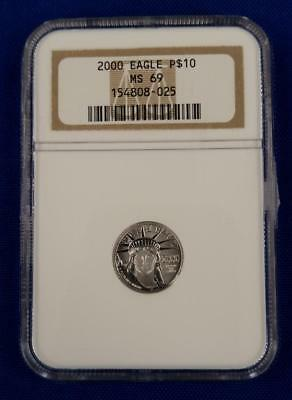 Yr. 2000 US PLATINUM EAGLE $10 1/10th Coin  NGC MS69  L3159