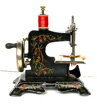 MULLER ANTIQUE SEWING MACHINE Cast Iron Child Toy Crank German Inspiration Travel Size Sewing Machine