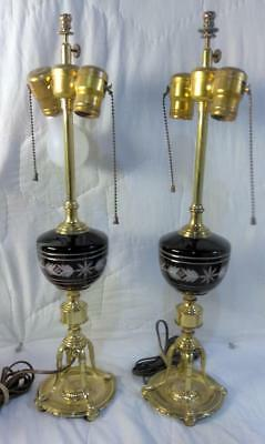 Old Vintage Brass and Red Cranberry Ruby Cut Glass Pair of Two 2 Set Lamps Light