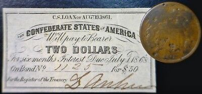 1861 Civil War CONFEDERATE $2 CSA Interest Note + 1865 TWO CENT 2c Coin  NR