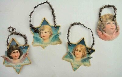 LOT antique victorian 7 pc CHRISTMAS ANGELS ORNAMENTS, tinsel, die cut embossed