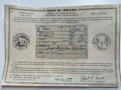1951 International Tractor L-180 Indiana Historical Document.