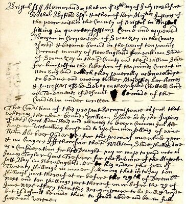 1708 Recognizance>QUEEN ANNE Colonial American Document>INN & ALE HOUSE LICENSE