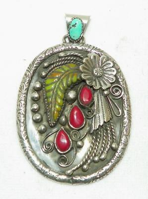 Hand Wrought~Jasper~Coral~Sterling Silver~Flower Pendant~By Francisco Gomez