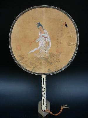 """A Fine Antique Chinese Fan Painting Of """"guanyin"""", Ink And Color On Silk"""