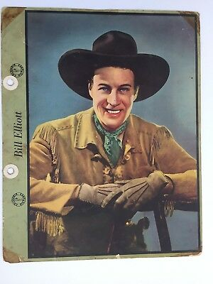 BILL  ELLIOTT - DIXIE ICE CREAM LID PREMIUM  cowboy  STAR 1940s  PICTURE card