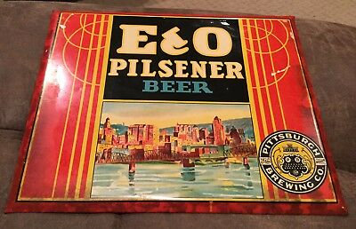 E & O PILSENER BEER Vintage 1930's Metal SIGN Pittsburgh Brewing Co PA
