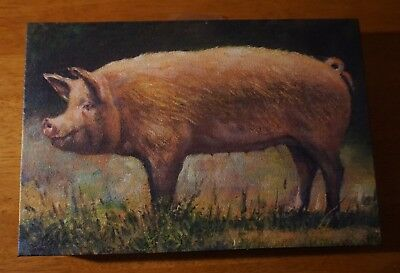 Pig Sign Country Kitchen Farm Rustic Primtive Framed Canvas Home Decor Sign B