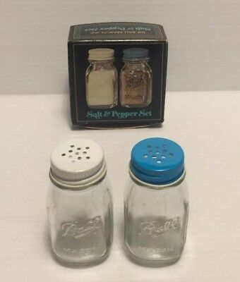 VINTAGE MINIATURE BALL MASON CANNING JAR set for SALT AND PEPPER SHAKERS GLASS