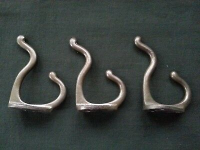 "3 Vintage 3-1/4"" Chrome Nickel Plated Cast Solid Brass Double Hat Coat Hooks"